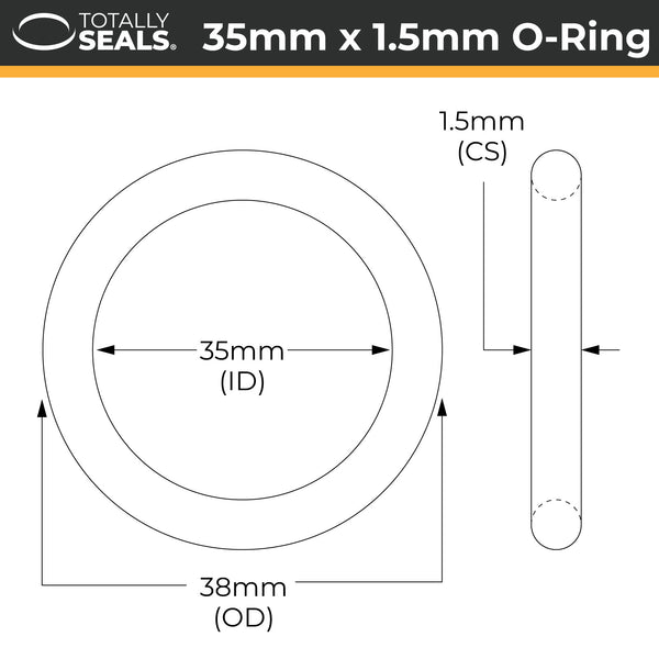 35mm x 1.5mm (38mm OD) Nitrile O-Rings - Totally Seals®