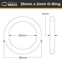 35mm x 2mm (39mm OD) Nitrile O-Rings - Totally Seals®
