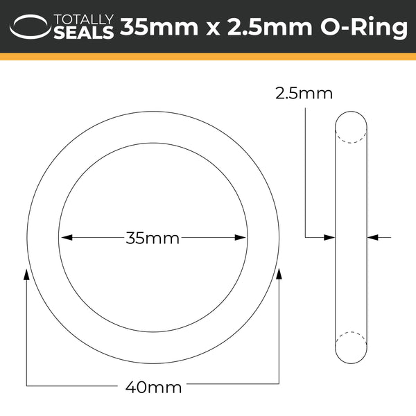 35mm x 2.5mm (40mm OD) Nitrile O-Rings - Totally Seals