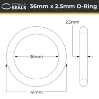 36mm x 2.5mm (41mm OD) Nitrile O-Rings - Totally Seals®