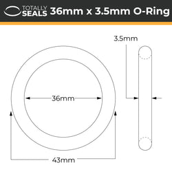 36mm x 3.5mm (43mm OD) Nitrile O-Rings