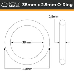 38mm x 2.5mm (43mm OD) Nitrile O-Rings