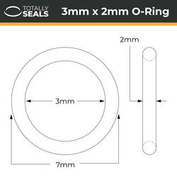 3mm x 2mm (7mm OD) Silicone O-Rings