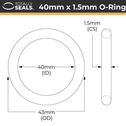 40mm x 1.5mm (43mm OD) Nitrile O-Rings