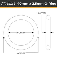 40mm x 2.5mm (45mm OD) Nitrile O-Rings - Totally Seals
