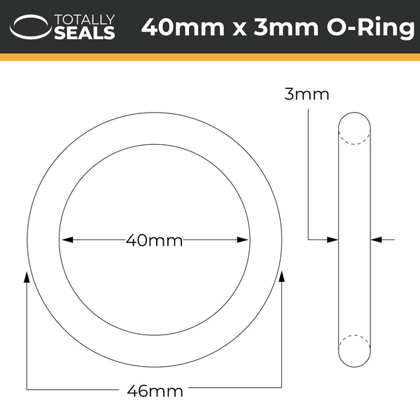 40mm x 3mm (46mm OD) Nitrile O-Rings - Totally Seals®