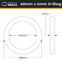 40mm x 4mm (48mm OD) Nitrile O-Rings - Totally Seals