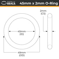 45mm x 2mm (49mm OD) Nitrile O-Rings - Totally Seals®