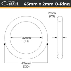 45mm x 2mm (49mm OD) Nitrile O-Rings