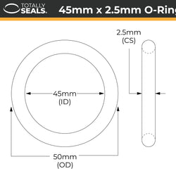 45mm x 2.5mm (50mm OD) Nitrile O-Rings