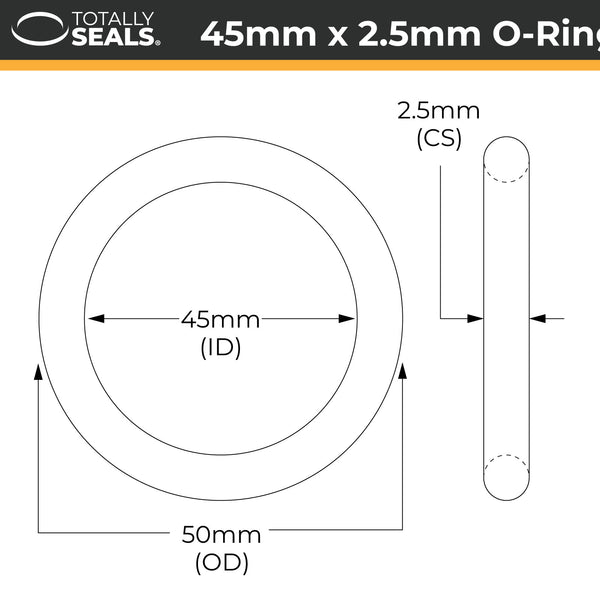 45mm x 2.5mm (50mm OD) Nitrile O-Rings - Totally Seals