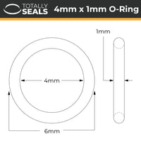 4mm x 1mm (6mm OD) Nitrile O-Rings - Totally Seals®