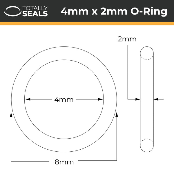 4mm x 2mm (8mm OD) Nitrile O-Rings - Totally Seals