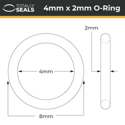 4mm x 2mm (8mm OD) Silicone O-Rings