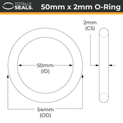 50mm x 2mm (54mm OD) Nitrile O-Rings