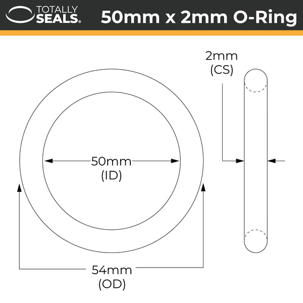 50mm x 2mm (54mm OD) Nitrile O-Rings - Totally Seals