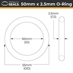 50mm x 2.5mm (55mm OD) Nitrile O-Rings