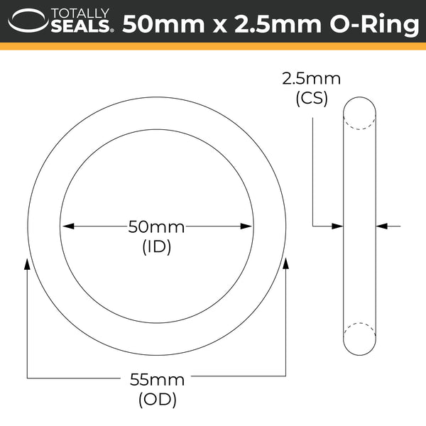 50mm x 2.5mm (55mm OD) Nitrile O-Rings - Totally Seals