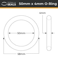 50mm x 4mm (58mm OD) Nitrile O-Rings - Totally Seals