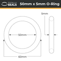 50mm x 5mm (60mm OD) Nitrile O-Rings - Totally Seals®