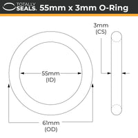 55mm x 3mm (61mm OD) Nitrile O-Rings - Totally Seals