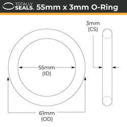 55mm x 3mm (61mm OD) Nitrile O-Rings
