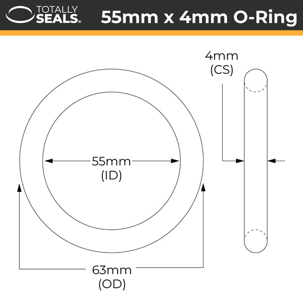 55mm x 4mm (63mm OD) Nitrile O-Rings - Totally Seals