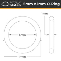 5mm x 1mm (7mm OD) Nitrile O-Rings - Totally Seals®
