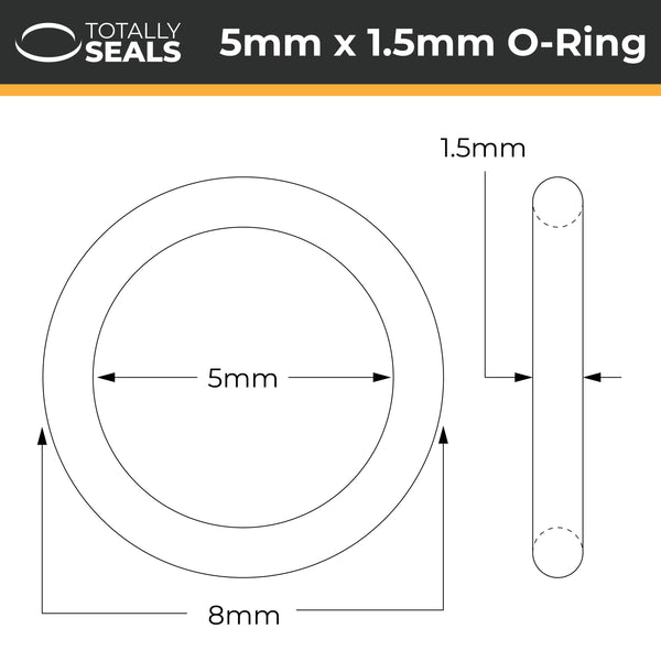 5mm x 1.5mm (8mm OD) Nitrile O-Rings - Totally Seals®