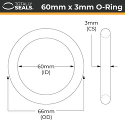 60mm x 3mm (66mm OD) Nitrile O-Rings
