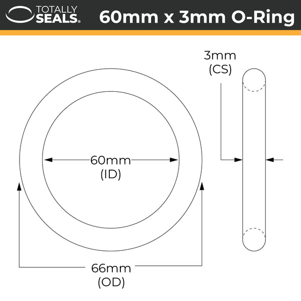 60mm x 3mm (66mm OD) Nitrile O-Rings - Totally Seals