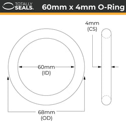 60mm x 4mm (68mm OD) Nitrile O-Rings