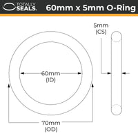 60mm x 5mm (70mm OD) Nitrile O-Rings - Totally Seals
