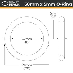 60mm x 5mm (70mm OD) Nitrile O-Rings