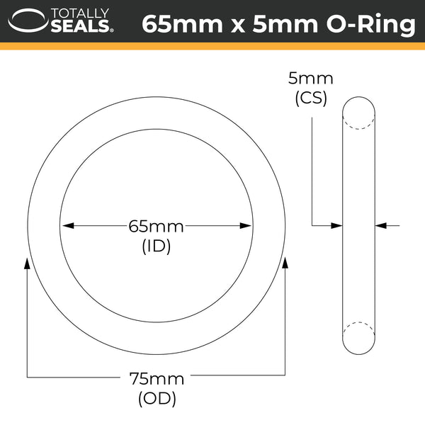 65mm x 5mm (75mm OD) Nitrile O-Rings - Totally Seals