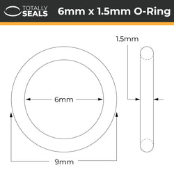 6mm x 1.5mm (9mm OD) Nitrile O-Rings