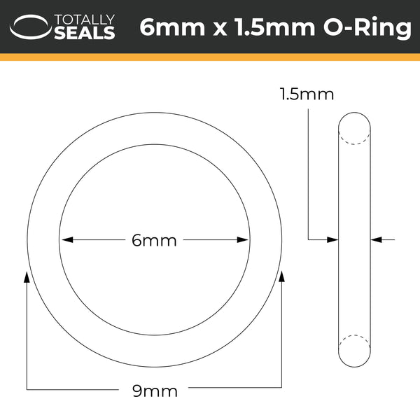 6mm x 1.5mm (9mm OD) Nitrile O-Rings - Totally Seals