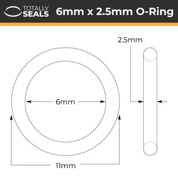 6mm x 2.5mm (11mm OD) Silicone O-Rings