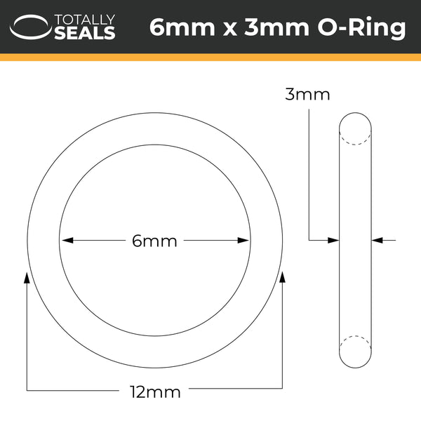 6mm x 3mm (12mm OD) Nitrile O-Rings - Totally Seals®