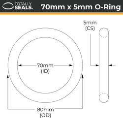 70mm x 5mm (80mm OD) Nitrile O-Rings