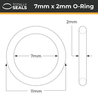 7mm x 2mm (11mm OD) Nitrile O-Rings - Totally Seals