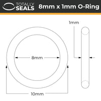 8mm x 1mm (10mm OD) Nitrile O-Rings - Totally Seals