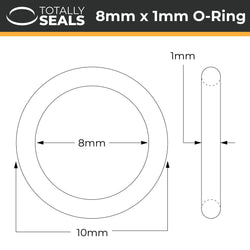 8mm x 1mm (10mm OD) Nitrile O-Rings