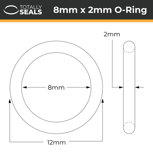 8mm x 2mm (12mm OD) Nitrile O-Rings - Totally Seals