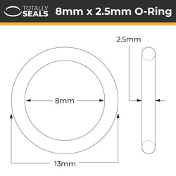 8mm x 2.5mm (13mm OD) Nitrile O-Rings