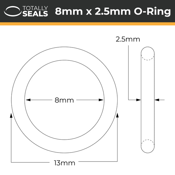 8mm x 2.5mm (13mm OD) FKM (Viton™) O-Rings - Totally Seals