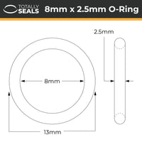 8mm x 2.5mm (13mm OD) Silicone O-Rings