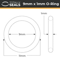 9mm x 1mm (11mm OD) Nitrile O-Rings - Totally Seals®