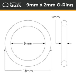 9mm x 2mm (13mm OD) Silicone O-Rings