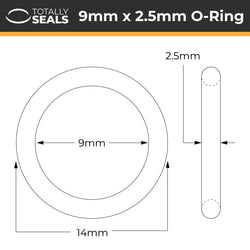 9mm x 2.5mm (14mm OD) Nitrile O-Rings